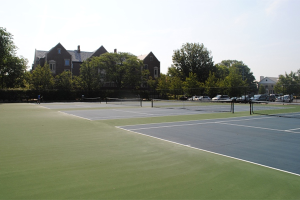 Tennis courts on campus