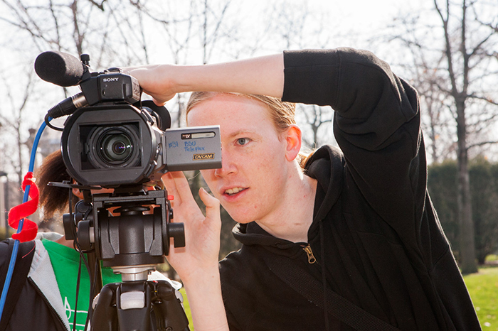 Student using a video camera