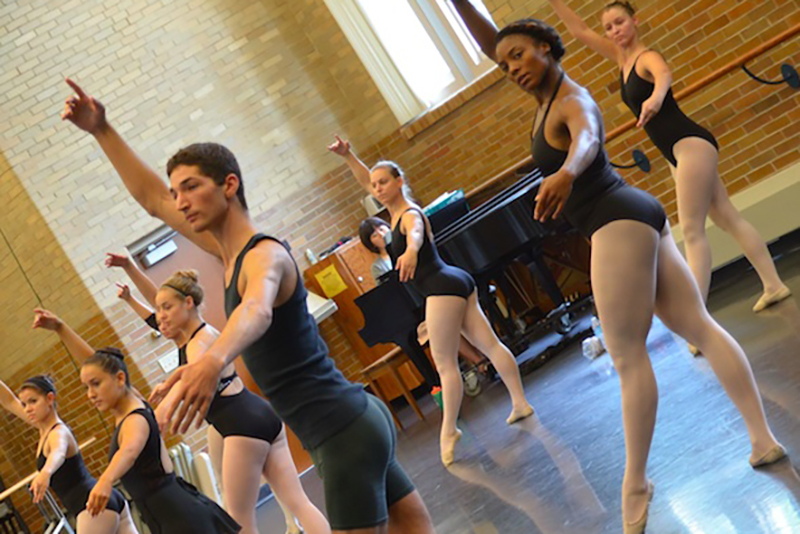 student ballet group practices in korsgaard theatre