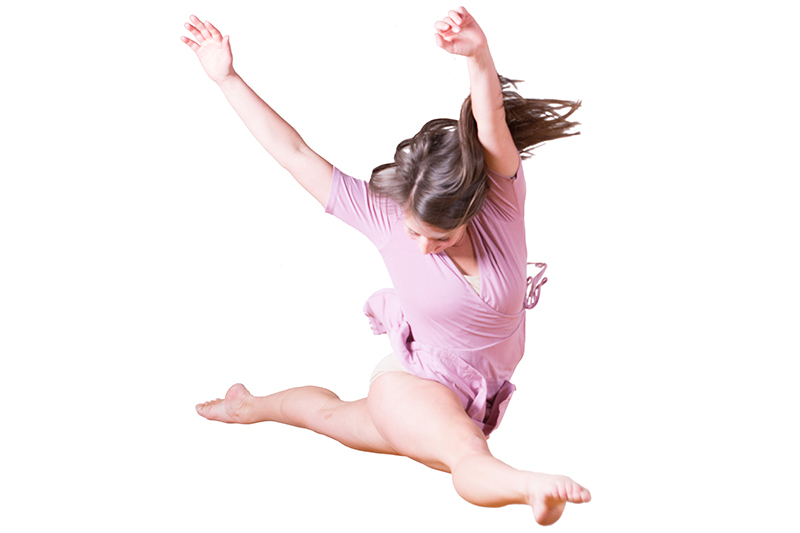 student dancing on white background