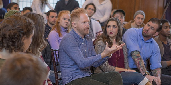 Jesse Tyler Ferguson with students