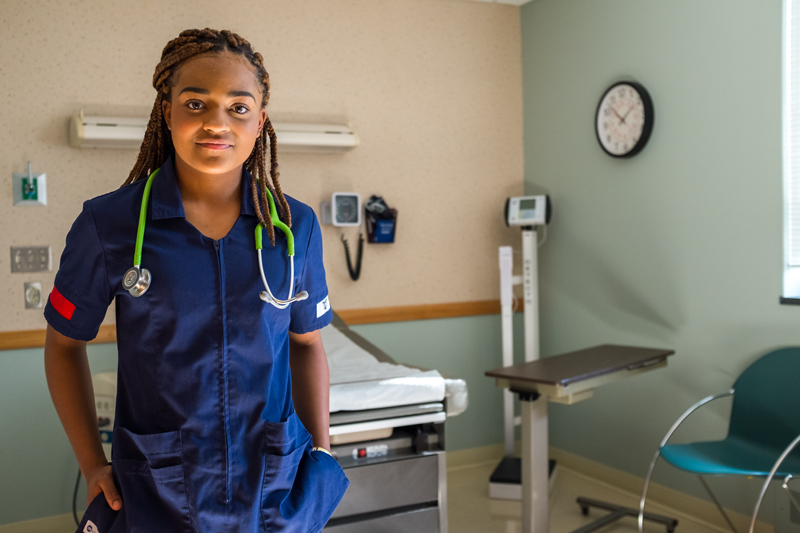 Nursing student with stethoscope