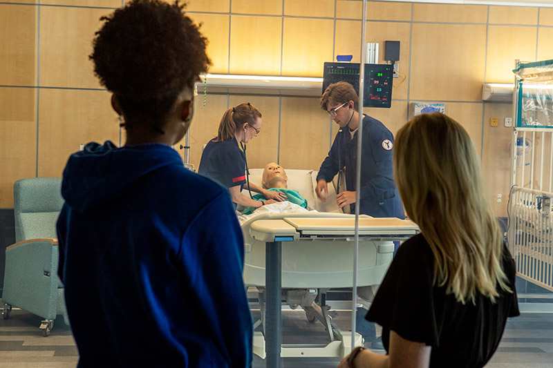 Nursing students work together in the Interprofessional Simulation Lab