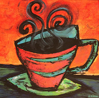 Modern painting of a cup of coffee by DJones.