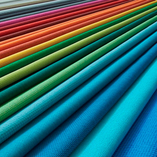 Fabric samples in a spectrum of colors