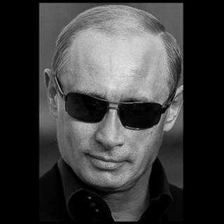 Black and white headshot of Putin in sunglasses