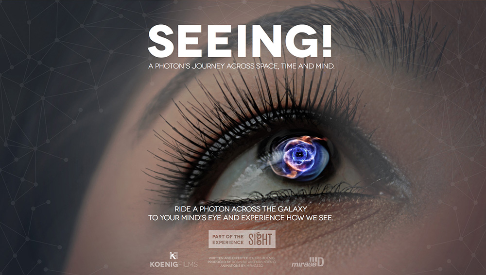"""SEEING!"" Show Poster with person looking up"
