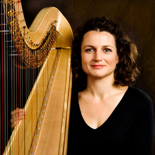 Alice Giles with her harp