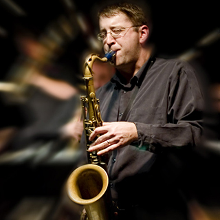 Andrew Bishop playing saxophone
