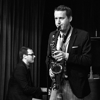 Michael Shults playing saxophone