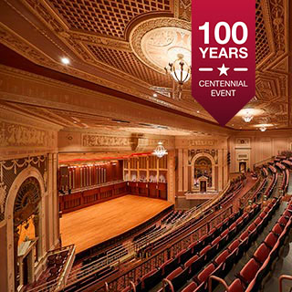 An interior photo of the Hilbert Circle Theatre in downtown Indianapolis