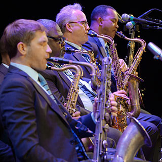 the saxophone section of the Jazz at Lincoln Center Orchestra