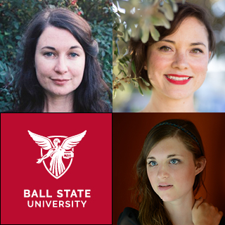 Three composers' headshots and the Ball State University logo