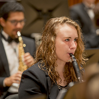Woodwind musicians performing