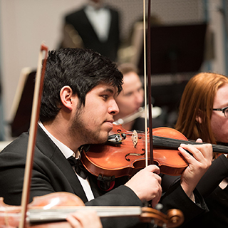 Orchestra musicians performing on stage