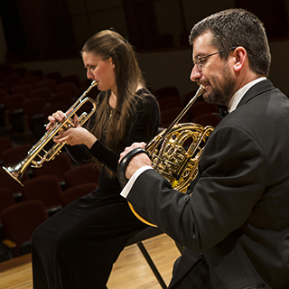 Brass chamber musicians performing
