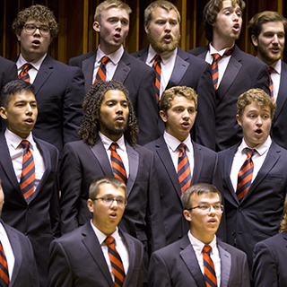 Members of the Statesmen choir performing on stage
