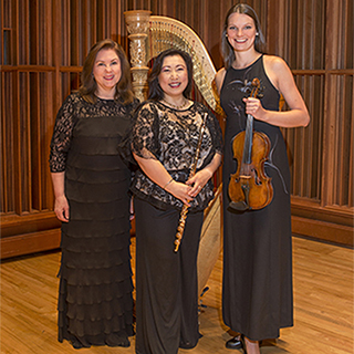 Hibiki trio members Elizabeth Richter, Mihoko Watanabe, and Katrin Meidell with their instruments