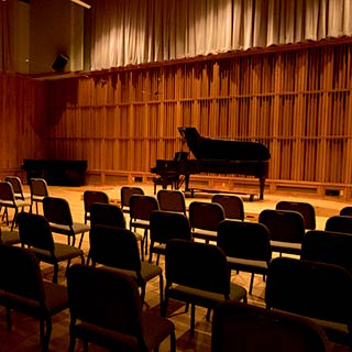 Hahn Recital Hall with piano