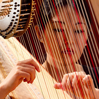 A female harpist performing