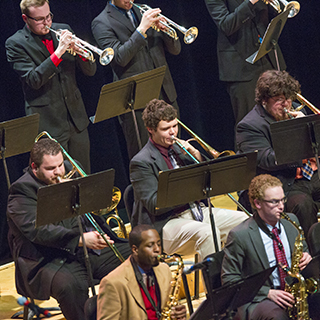 Jazz musicians on stage performing