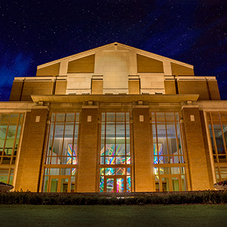 The Music Instruction Building at night