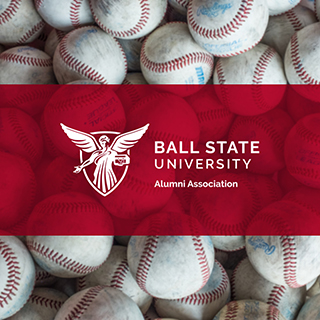 Alumni Association logo with baseballs behind