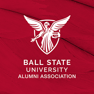 Alumni Association logo on a red feather background