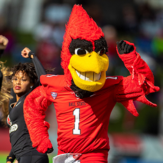 Charlie Cardinal, the mascot, dances at Homecoming