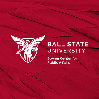 Ball State University Bowen Center logo on a red feather background