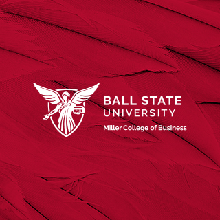 White Miller College of Business logo on a red feather background