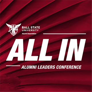 ALL IN Alumni Leaders Conference logo on a red feather background