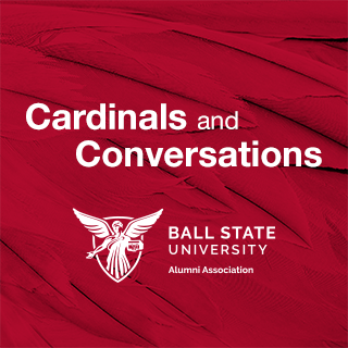 Cardinals and Conversations text and white Alumni Association logo on red feather background