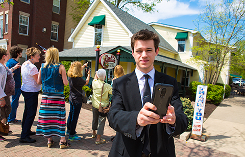 Braydon Fox with walking tour app