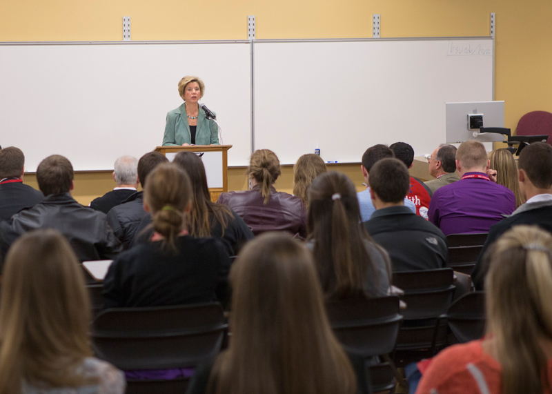 President Gora speaks to students