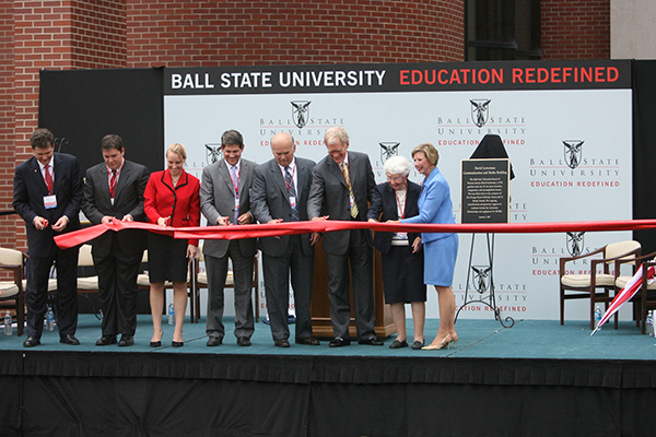 Ribbon cutting for the David Letterman Communication and Media Building
