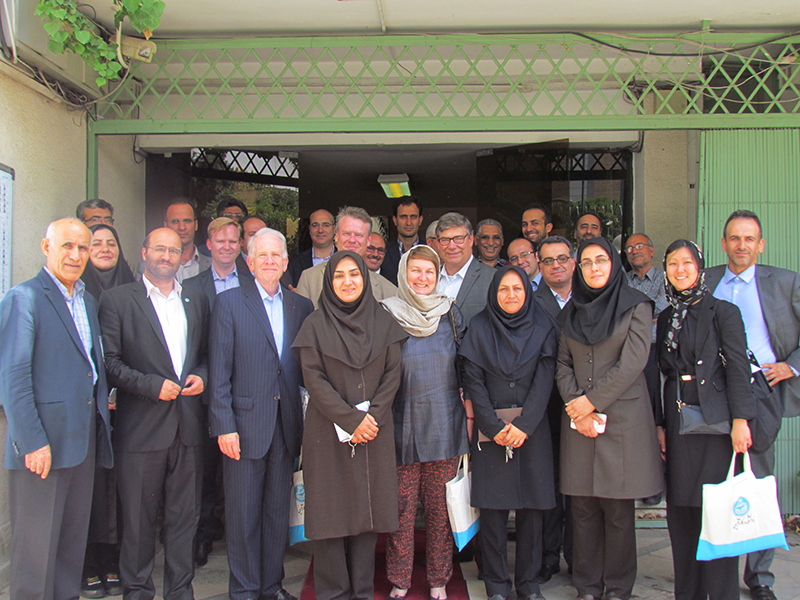 The U.S.-led IIE delegation with representatives from the University of Tehran's Faculty of Entrepreneurship.