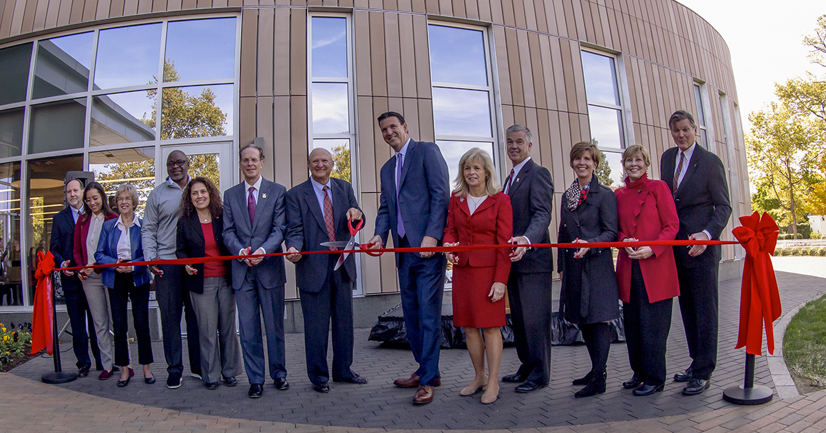 ribbon cutting at Health Professions Building