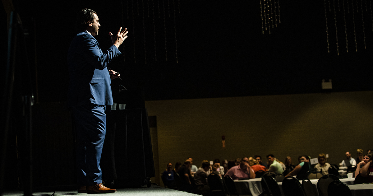 George Couros speaks at the MCS-Ball State Innovation Summit
