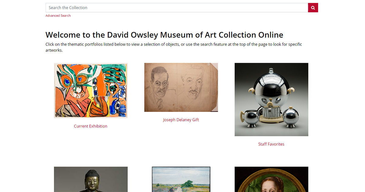 screen grab of online collection at David Owsley Museum of Art